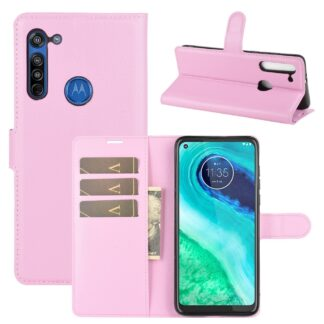 Motorola G8 - Læder cover / pung - Pink