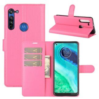 Motorola G8 - Læder cover / pung - Rosa