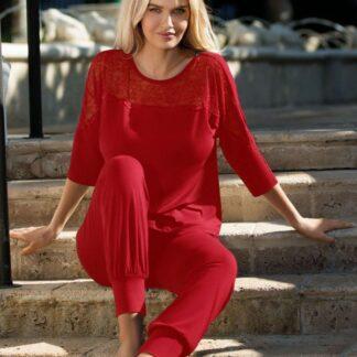 Rød Loretta bluse m. 3/4 ærmer & lange bukser