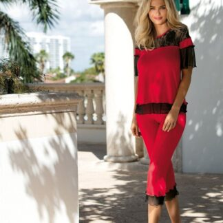 Rød Manuela blomstret blonder t-shirt & 3/4 bukser
