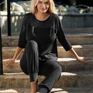Sort Loretta bluse m. 3/4 ærmer & lange bukser