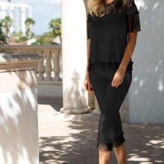 Sort Manuela blomstret blonder t-shirt & 3/4 bukser