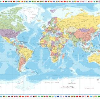Verdenskort med flag af Illux
