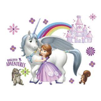 Flot eventyrlig wallsticker med prinsesse, enhjørning, regnbue.