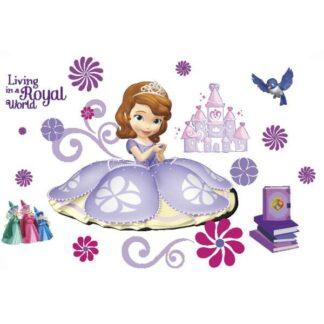 Flot wallsticker med en prinsesse, feer, slot, fugl, blomster mm