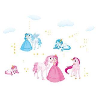 Flot wallsticker med enhjørninger og prinsesser.