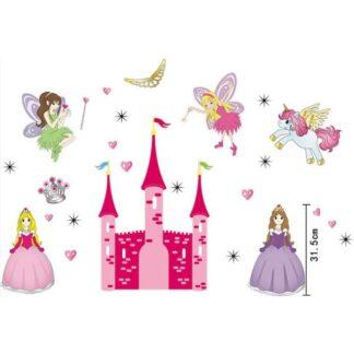 Flot wallsticker med prinsesser, slot, feer, enhjørning mm.