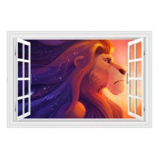 Løvernes Konge wallsticker. Vindue med Mufasa. 60x90cm.