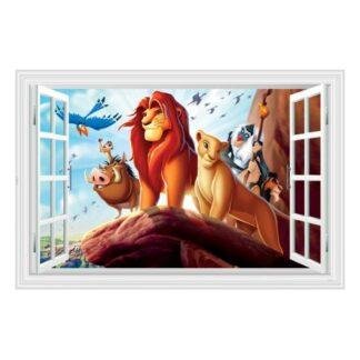Løvernes Konge wallsticker. Vindue med Simba på Kongesletten.