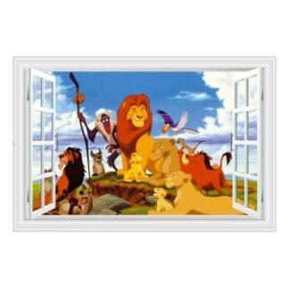 Løvernes Konge wallsticker. Vindue med hele familien. 60x90cm.