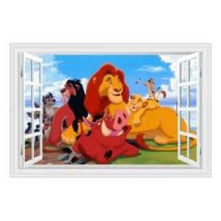 Løvernes Konge wallsticker. Vindue med hygge på sletten. 60x90cm