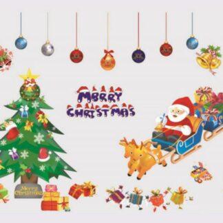 Merry Christmas Jule wallsticker. Julemand, juletræ, pynt mm.