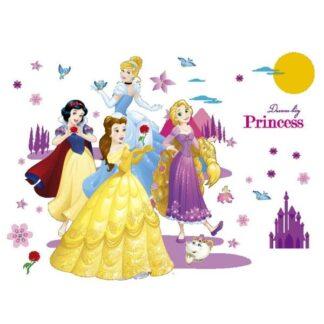 Prinsesse wallsticker med Snehvide, Askepot, Bell og Rapunzel.