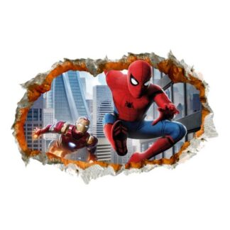 Spiderman & Iron Man wallsticker. Hul i væggen. 60x90cm.
