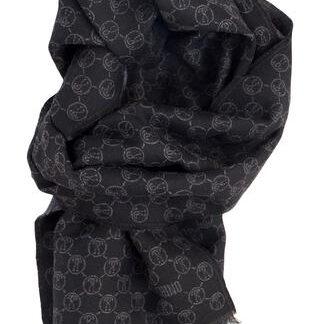 Uld tørklæde i koks grå og sort fra Moschino