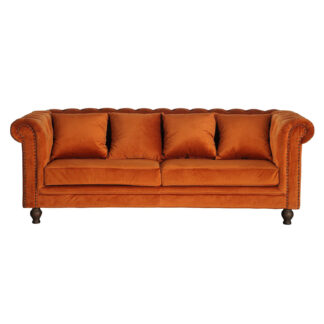 VENTURE DESIGN Velvet 3 pers. sofa - orange velour og træ