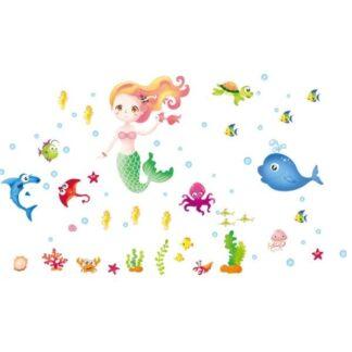 Wallsticker med en havfrue, fisk og andre sjove havdyr.