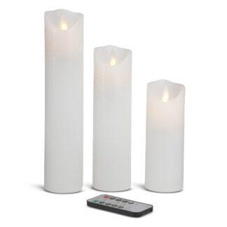 3 stk. LED stearinlys med realistisk bevægelig flamme og fjernbetjening - HVID Rustik