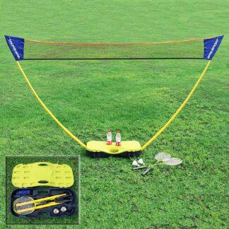 Badmintonsæt med net, ketsjer og bolde