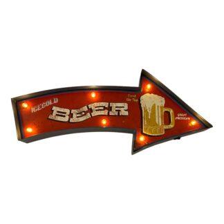 Retro BEER skilt med lys