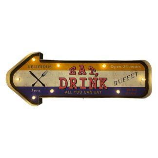 Retro EAT DRINK skilt med lys