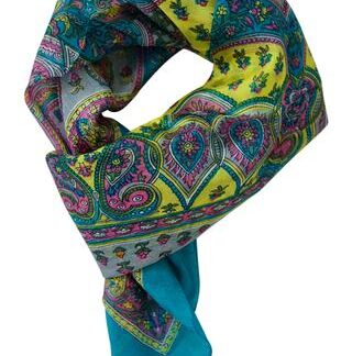 Turkis grønt silketørklæde i paisley mønster