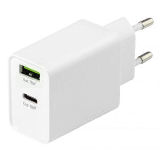 2-port USB-C PD 18W Fast Charge oplader, EU/DK