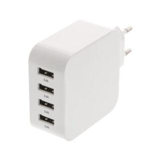 4-port USB oplader, 5V/4.8A (24W), Smart-IQ, EU/DK stik