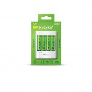 GP ReCyko USB AA og AAA Batterioplader U411 inkl. 4 x Genopladelige AA batterier 2000 mAh