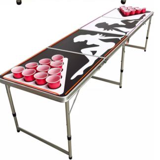 Beer Pong Bord med lys - kopper/bolde medfølger (foldbart)