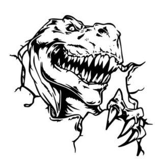 Dinosaurus wallsticker. T-Rex bryder igennem. 57x56cm.