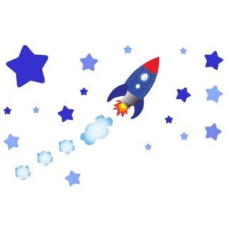 Rigtig sød wallsticker med en rumraket på vej mod stjernerne.