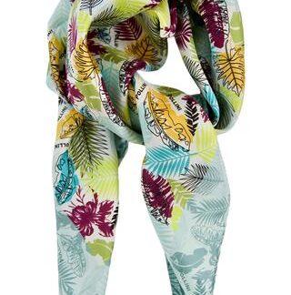Støvet grønt mønstret silke tørklæde Pollini