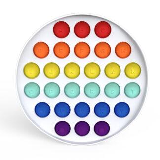 Fidget Toys - Pop It - Hvid Cirkel Regnbue (med alfabet)
