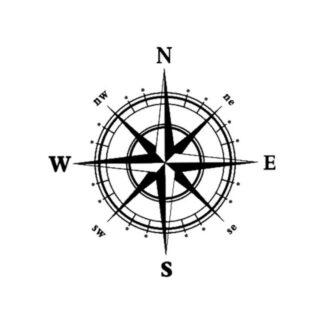 Kompas wallsticker. 60x60cm