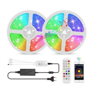 LED Strip lyskæde 10 meter med Bluetooth, Fjernbetjening og Musiksensor