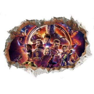 Avengers Endgame Wallsticker. Hul i væggen. 70x50cm.