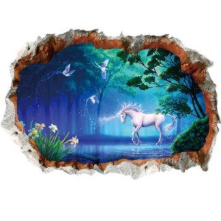 Enhjørning Wallsticker. Magisk enhjørning i skoven. Blå/grøn.