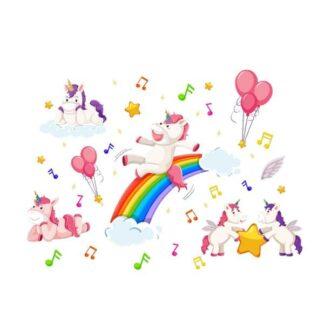 Enhjørning Wallsticker. Musik, balloner og regnbue rutsjebane.