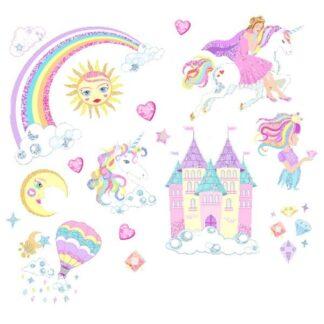 Glitter wallsticker med prinsesser, enhjørninger, regnbue mm.