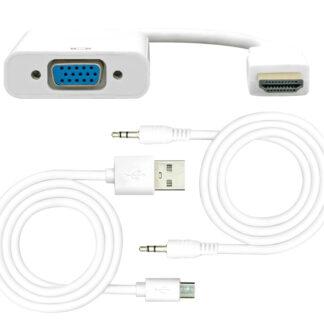 HDMI til VGA med lyd / Aktiv adapter - 1080p / 60H - Hvid