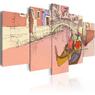 Lærredstryk Romantic gondolas - 5 dele