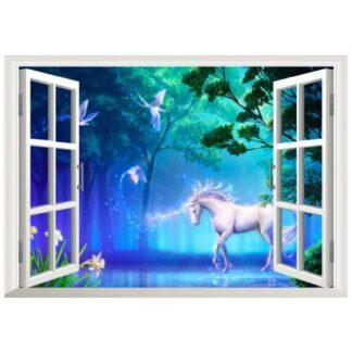 Magisk enhjørning i skoven wallsticker. Vindue. Blå/grøn.