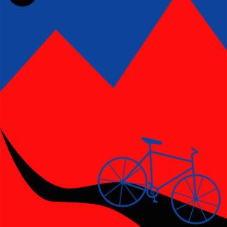 Mountainbike Blue af Justesen Plakater
