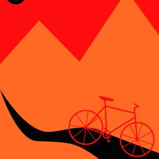 Mountainbike Orange af Justesen Plakater
