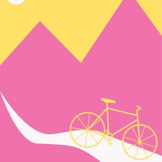 Mountainbike Yellow af Justesen Plakater