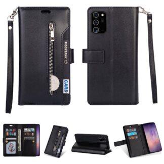 Samsung Galaxy Note 20 Ultra / Ultra 5G - Læder cover / pung - Udvendig lomme med lynlås - Sort