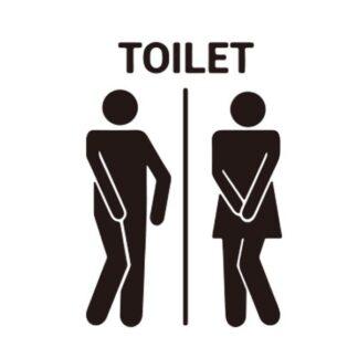 Toilet skilt #2. Sjov toilet wallsticker. 19x28cm.