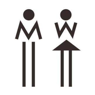 Toilet skilt med to tændstik figurer (M+W). 19x13cm.