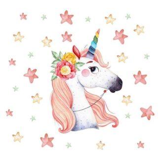 Wallsticker med en regnbue Enhjørning og masser af stjerner.